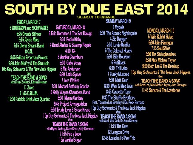 Poster & link to info about the upcoming SOUTH BY DUE EAST - Guy Schwartz & MArlo Blue's Video Shoot, TV Series, Free Music Festival, & Guerilla Marketing Experiment!